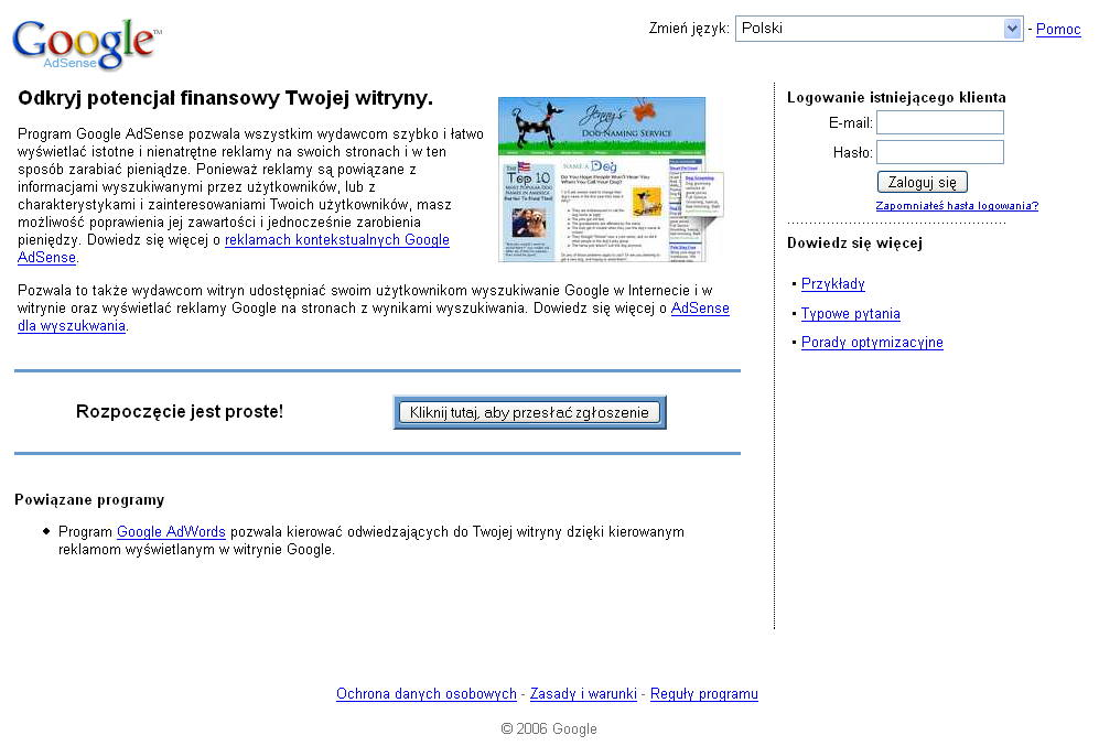 Strona programu Google AdSense