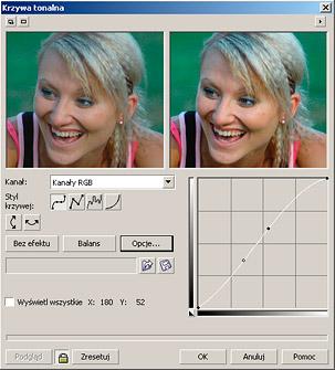 Korygowanie zdjęcia przez modyfikowanie krzywej tonalnej