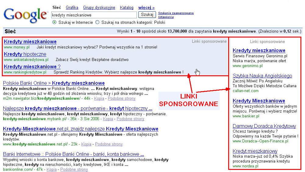 linki sponsorowane w wyszukiwarce Google (zaznaczone czerwonym kolorem)