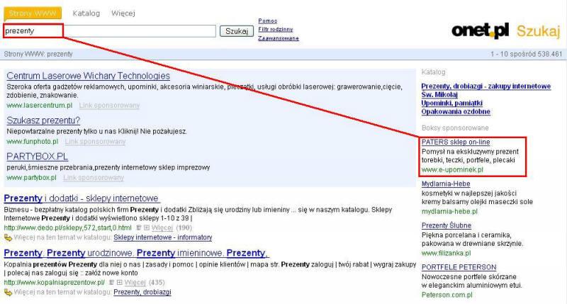 linki sponsorowane (zaznaczone na czerwono) i boksy sponsorowane (zaznaczone na niebiesko) w wyszukiwarce OnetSzukaj