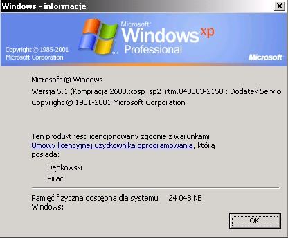 Rys. 6 - Windows XP - uruchomiony na 24MB RAMu